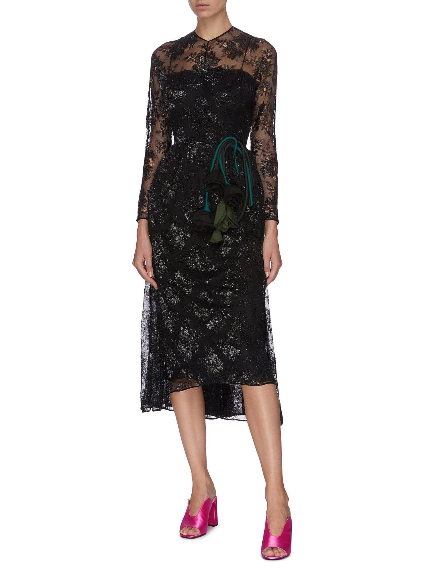 PRADA Floral Motif Embroidered Sheer Lace Dress