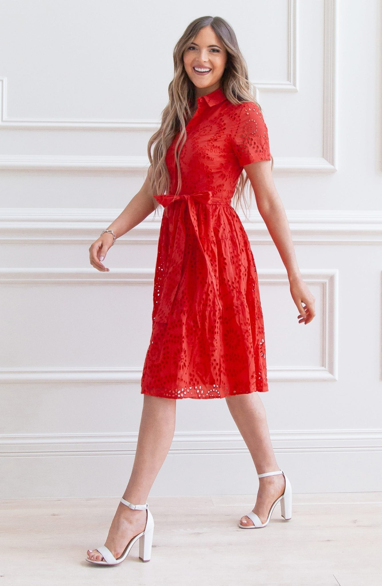 RACHEL PARCELL Tiered Eyelet Shirt Dress