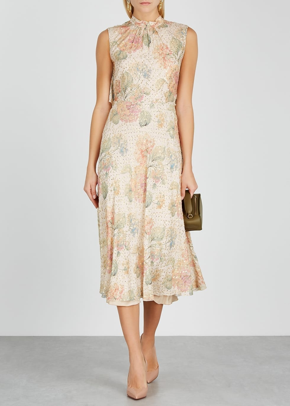 RED VALENTINO Floral-print Chiffon Midi Dress
