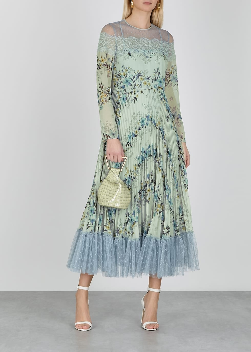 RED VALENTINO Floral-print Lace-trimmed Chiffon Midi Dress