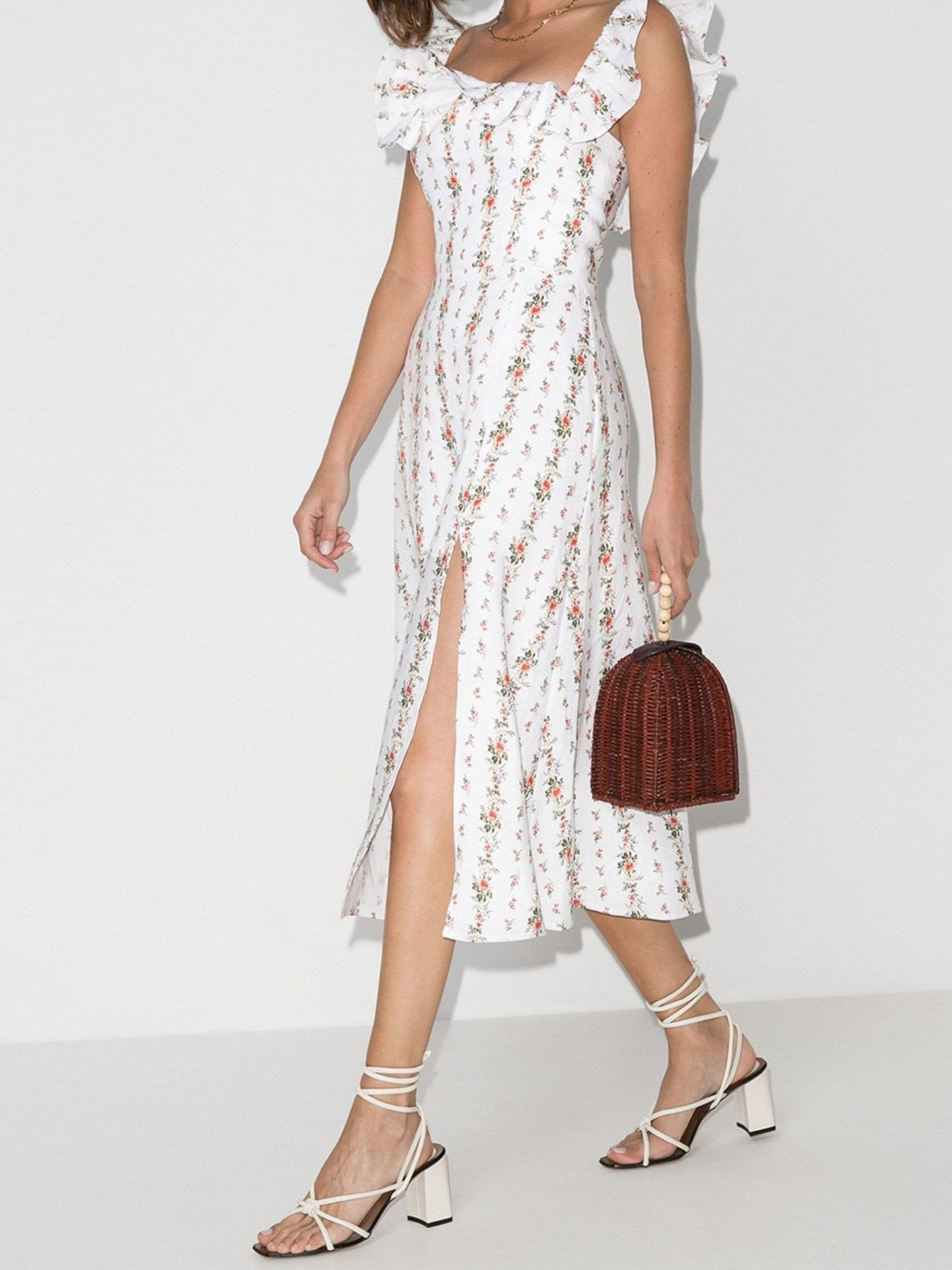 REFORMATION Amethyst Ruffle Neck Linen Midi Dress