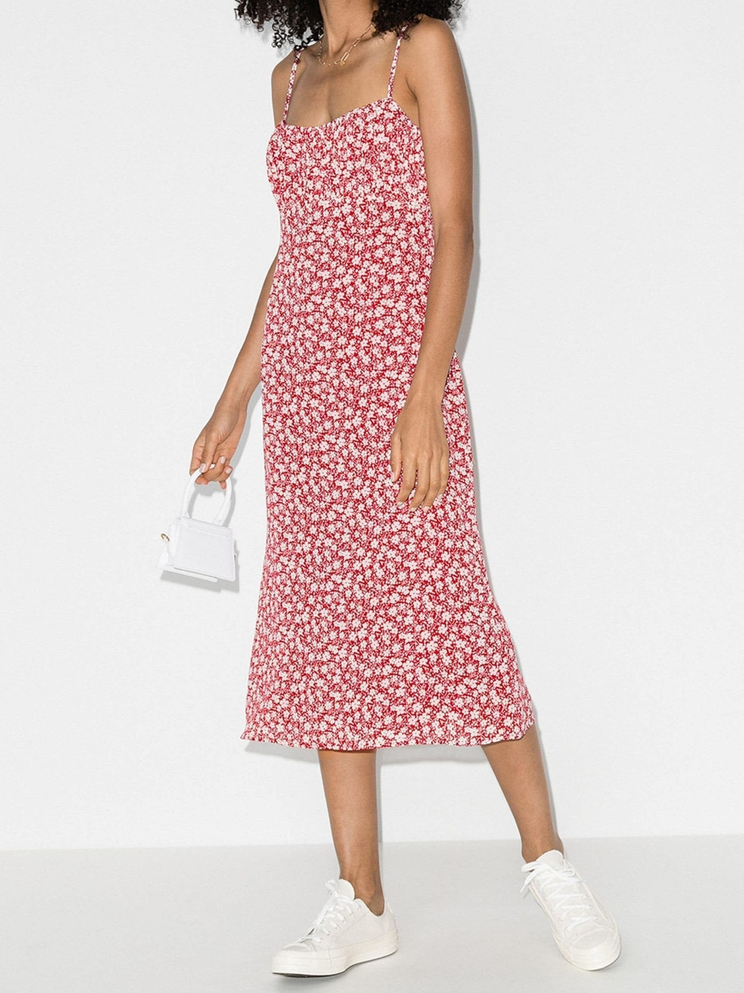 REFORMATION Arie Gathered Bust Printed Midi Dress
