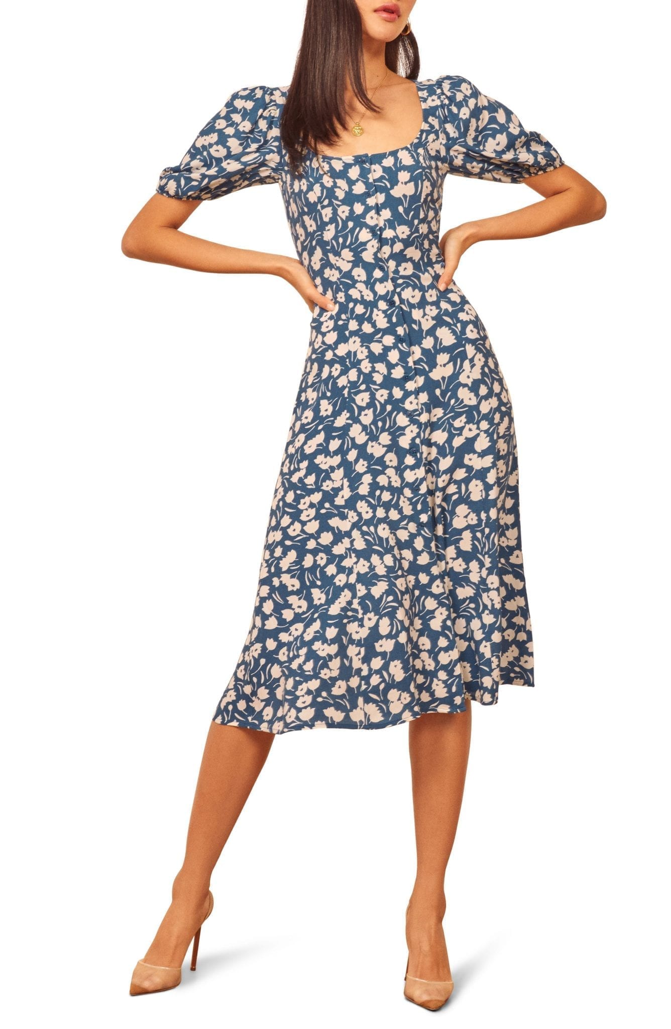 REFORMATION Beechwood Floral Midi Dress