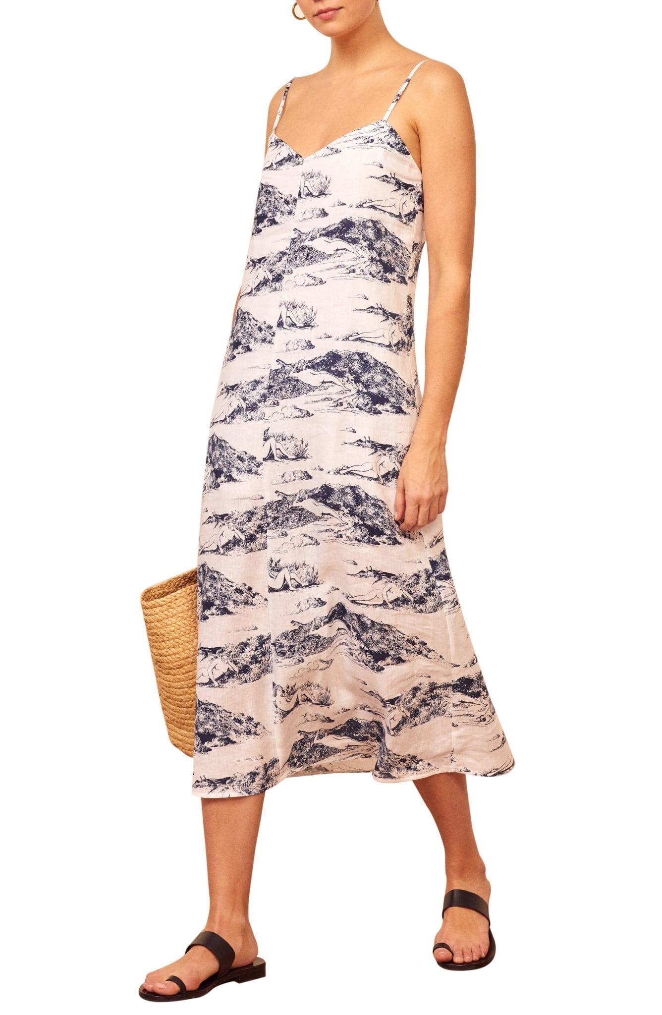 REFORMATION Gisele Print Midi Slip Dress