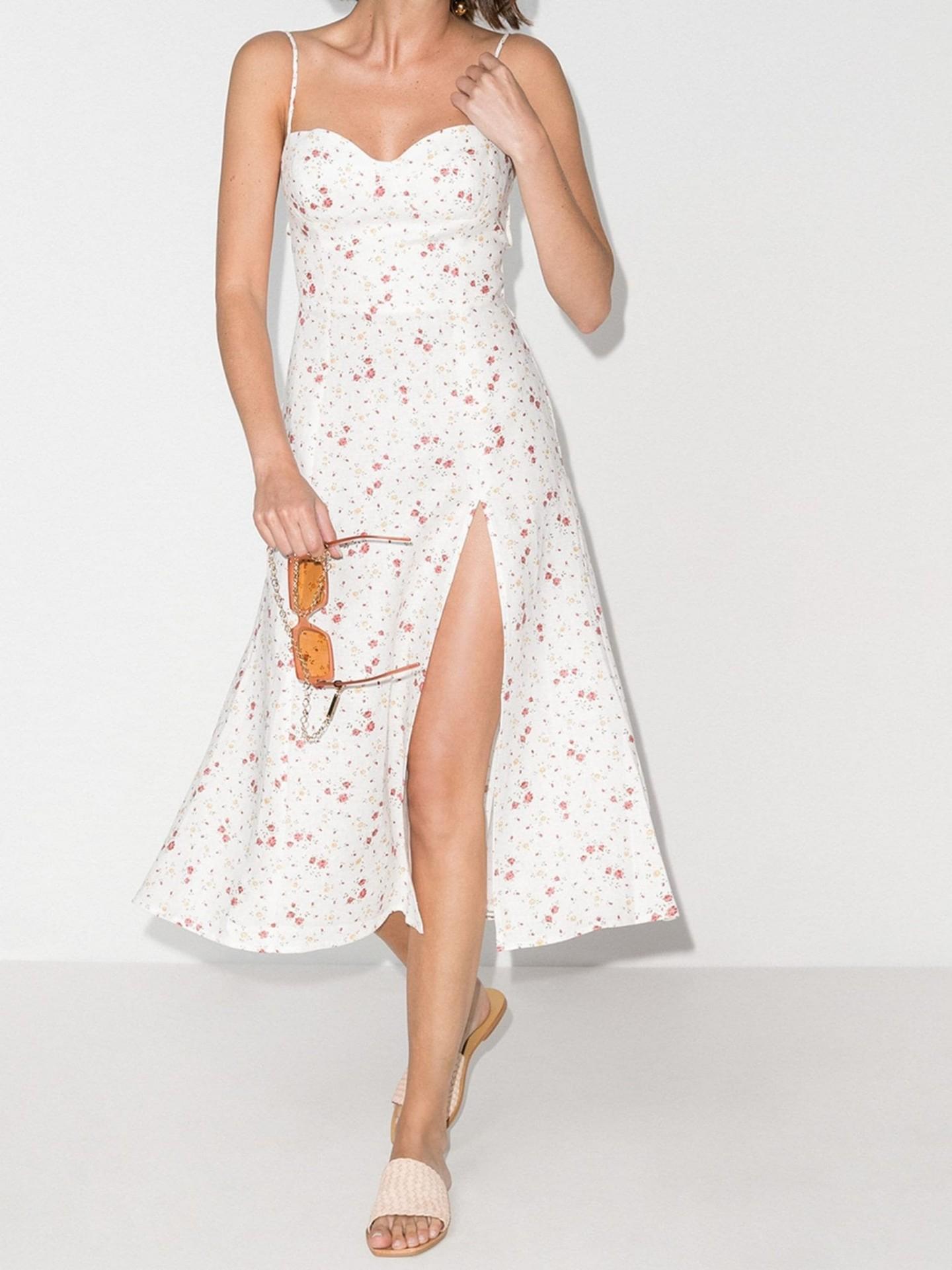 REFORMATION Nebraska Floral Print Slit Midi Dress