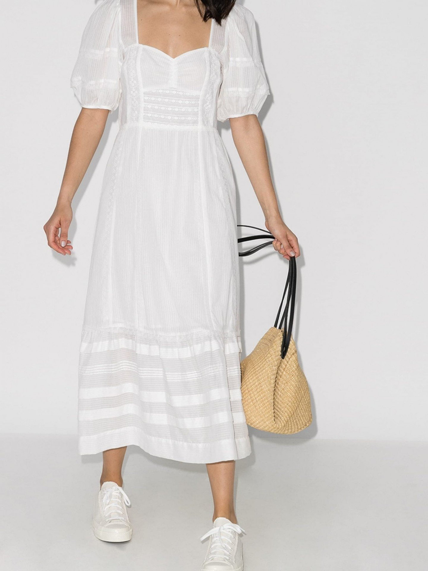 REFORMATION Norwich Lace Trim Cotton Midi Dress