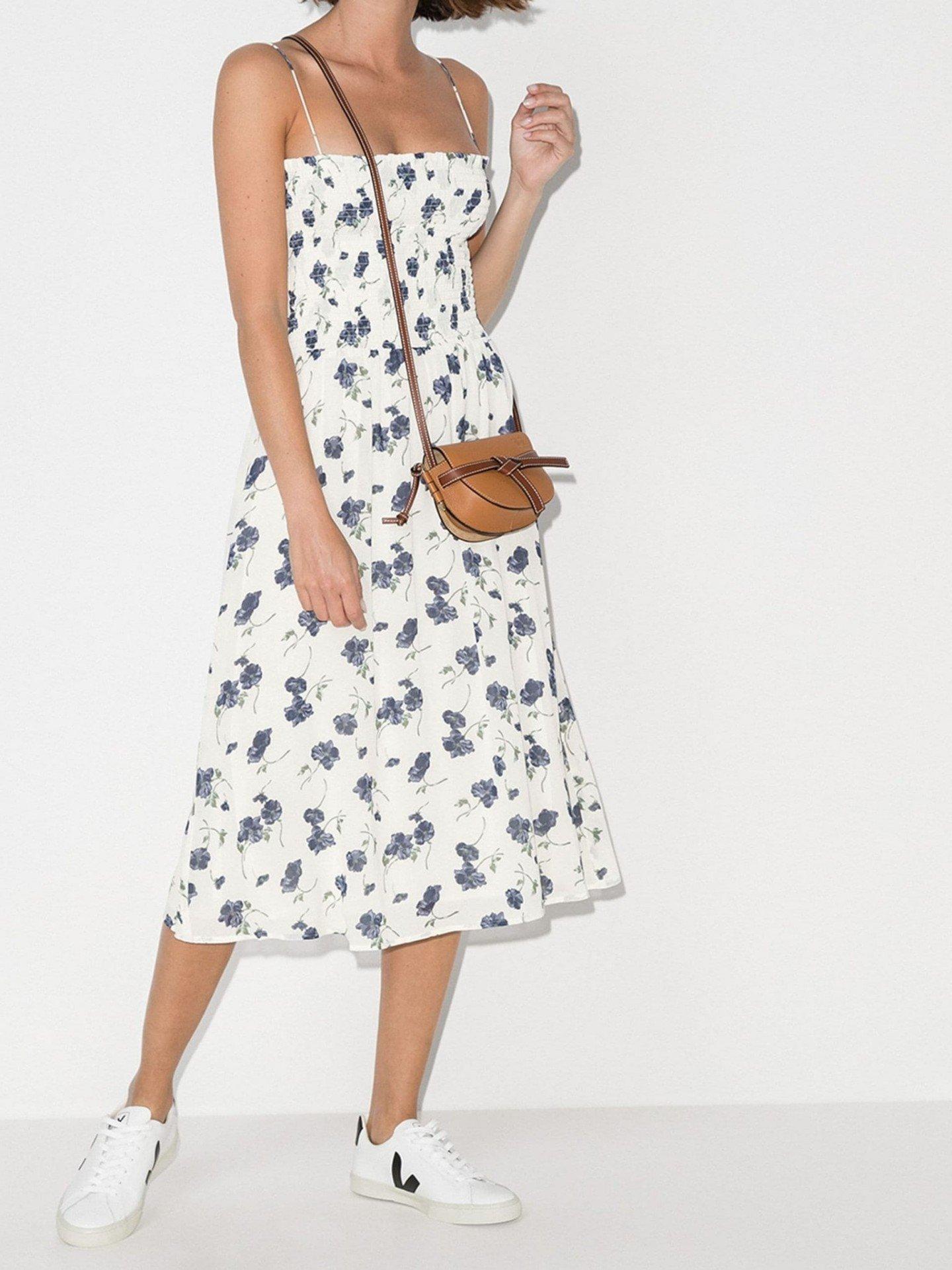 REFORMATION Sable Smocked Midi Dress
