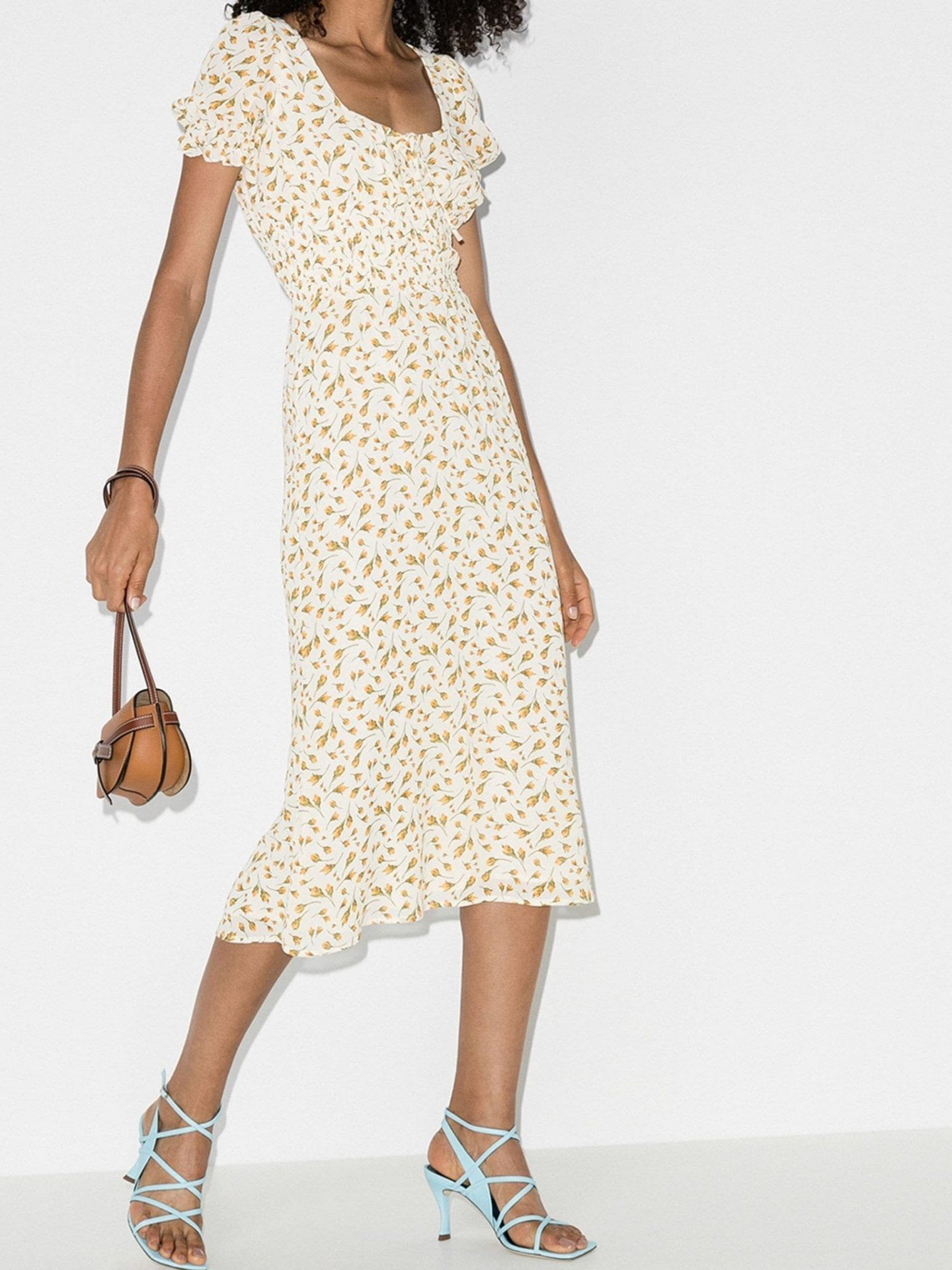 REFORMATION Selby Square Neck Midi Dress