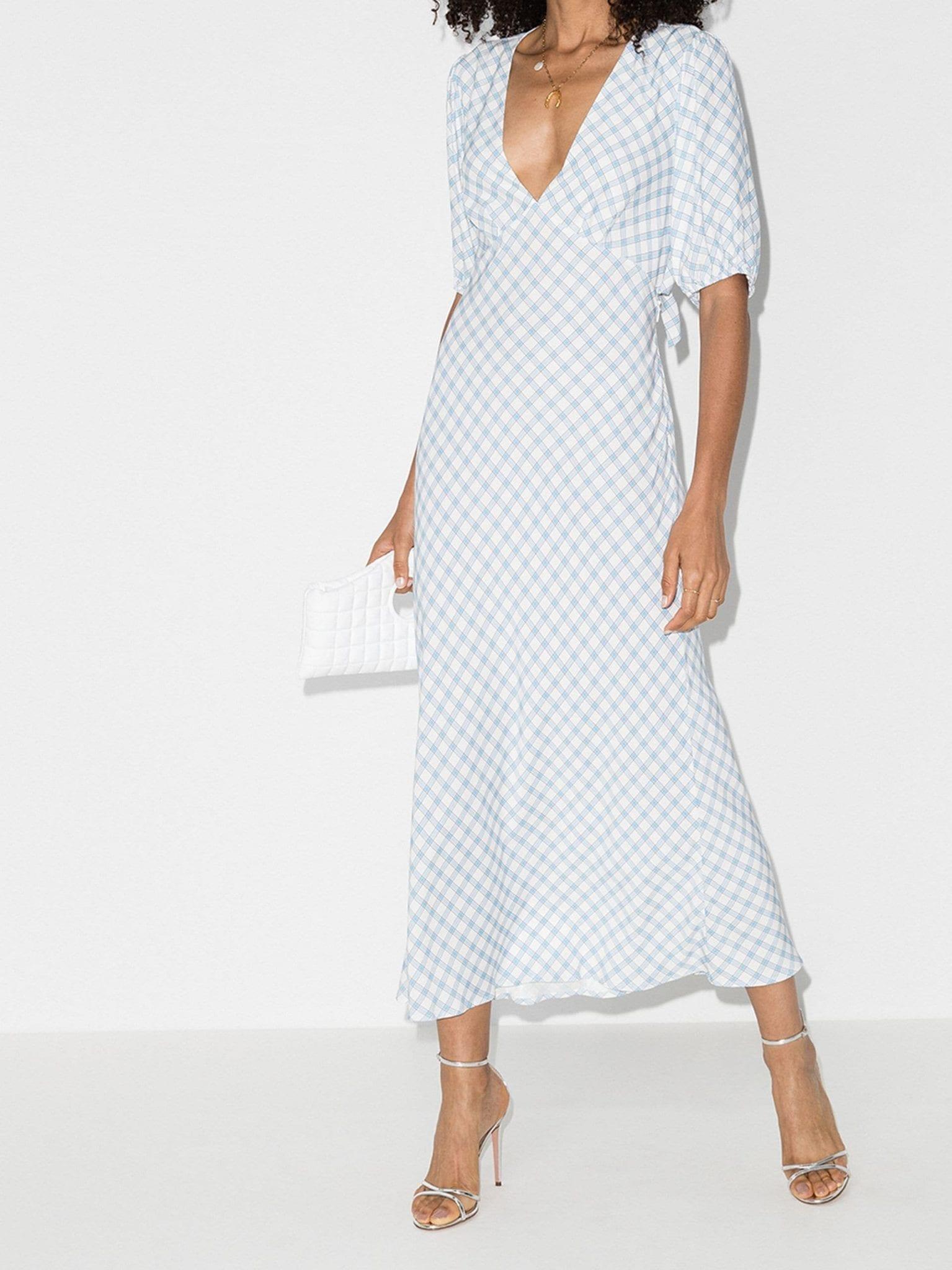 RIXO Steph Checked Midi Dress