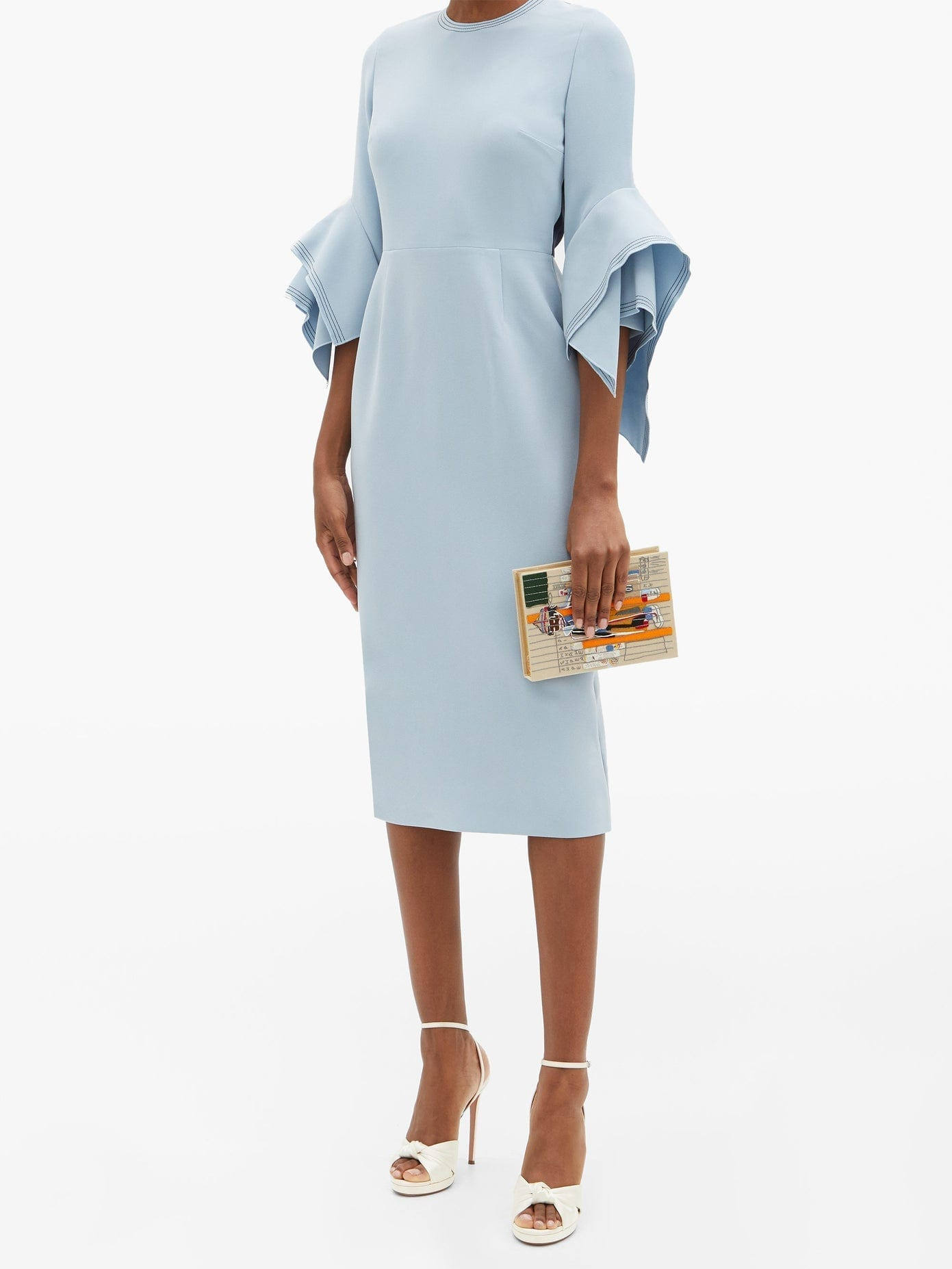 ROKSANDA Ronda Fluted-cuff Crepe Dress