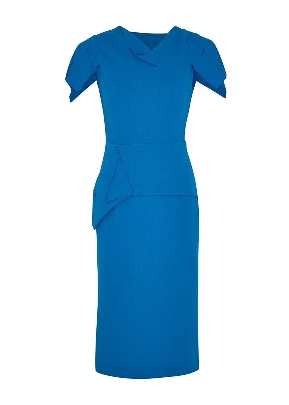 ROLAND MOURET Vernon Blue Wool-crepe Dress