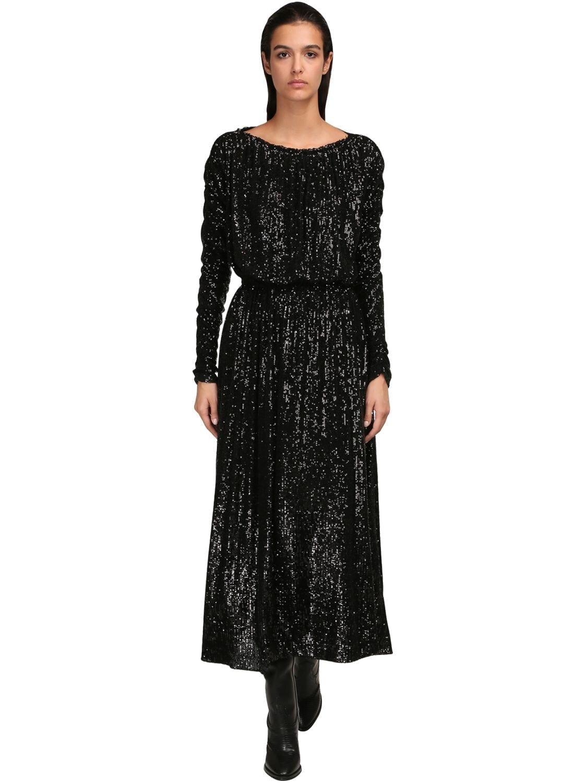 SAINT LAURENT Sequined Draped Midi Dress