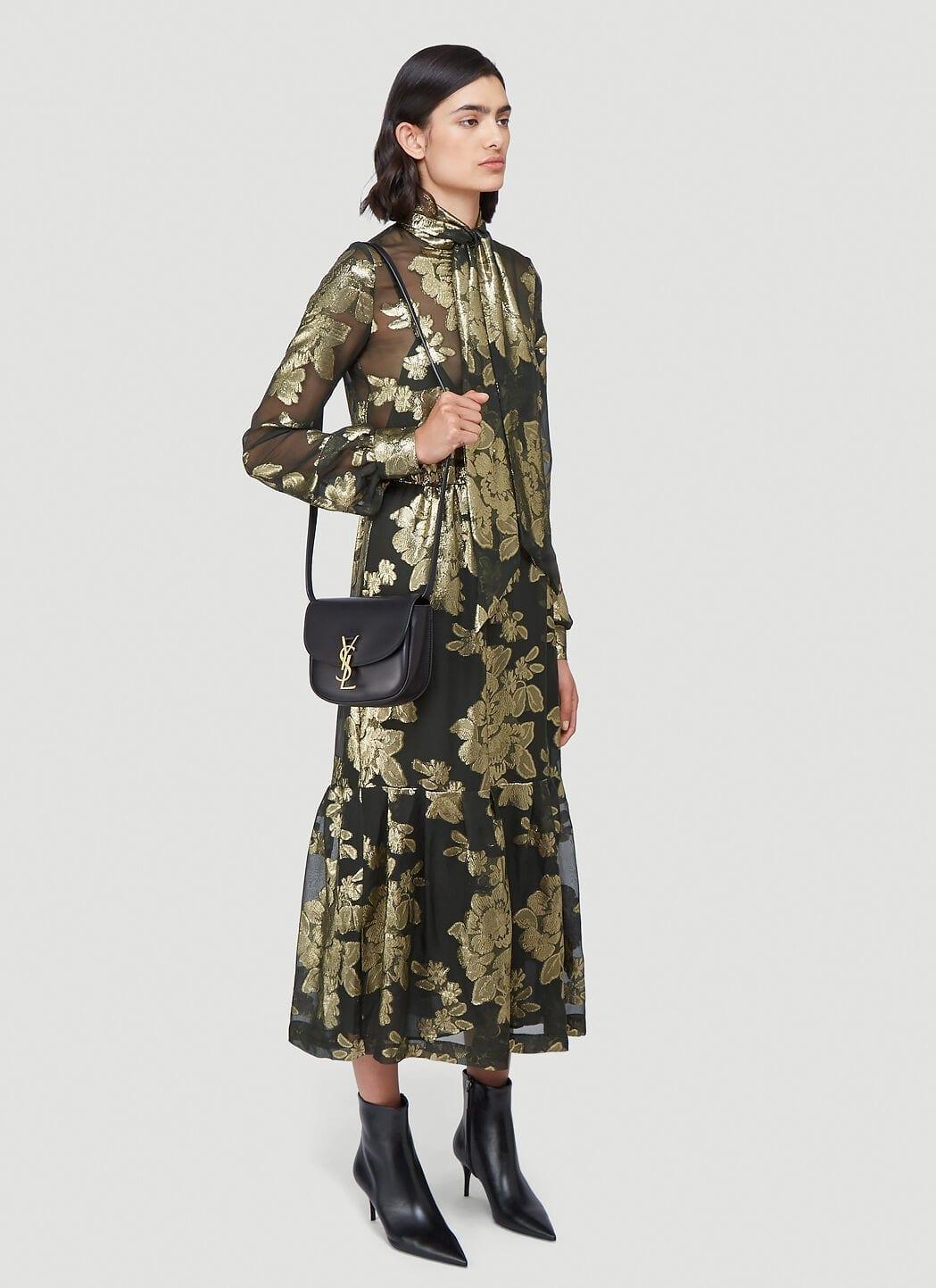 SAINT LAURENT Tie-Neck Floral Lamé Dress