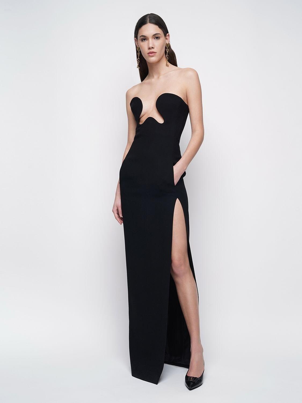 SAINT LAURENT Wool Sable Long Dress