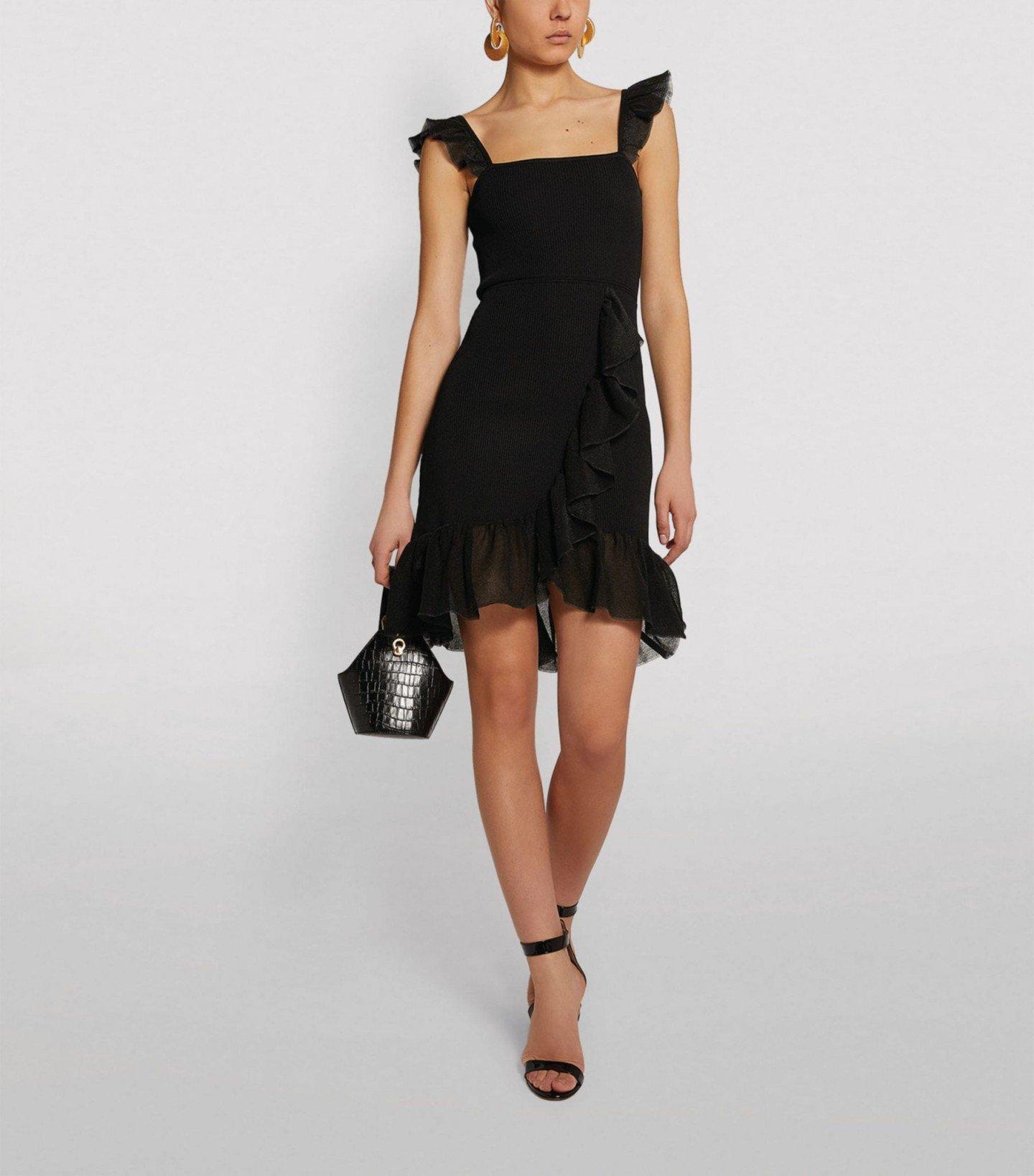 SANDRO PARIS Ruffle-Strap Knit Dress