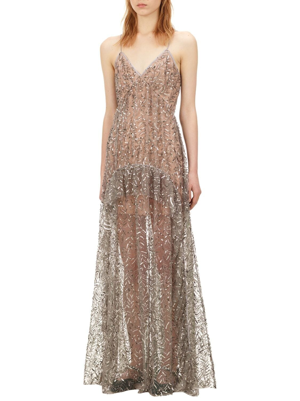 SELF-PORTRAIT Beads & Sequins Long Dress