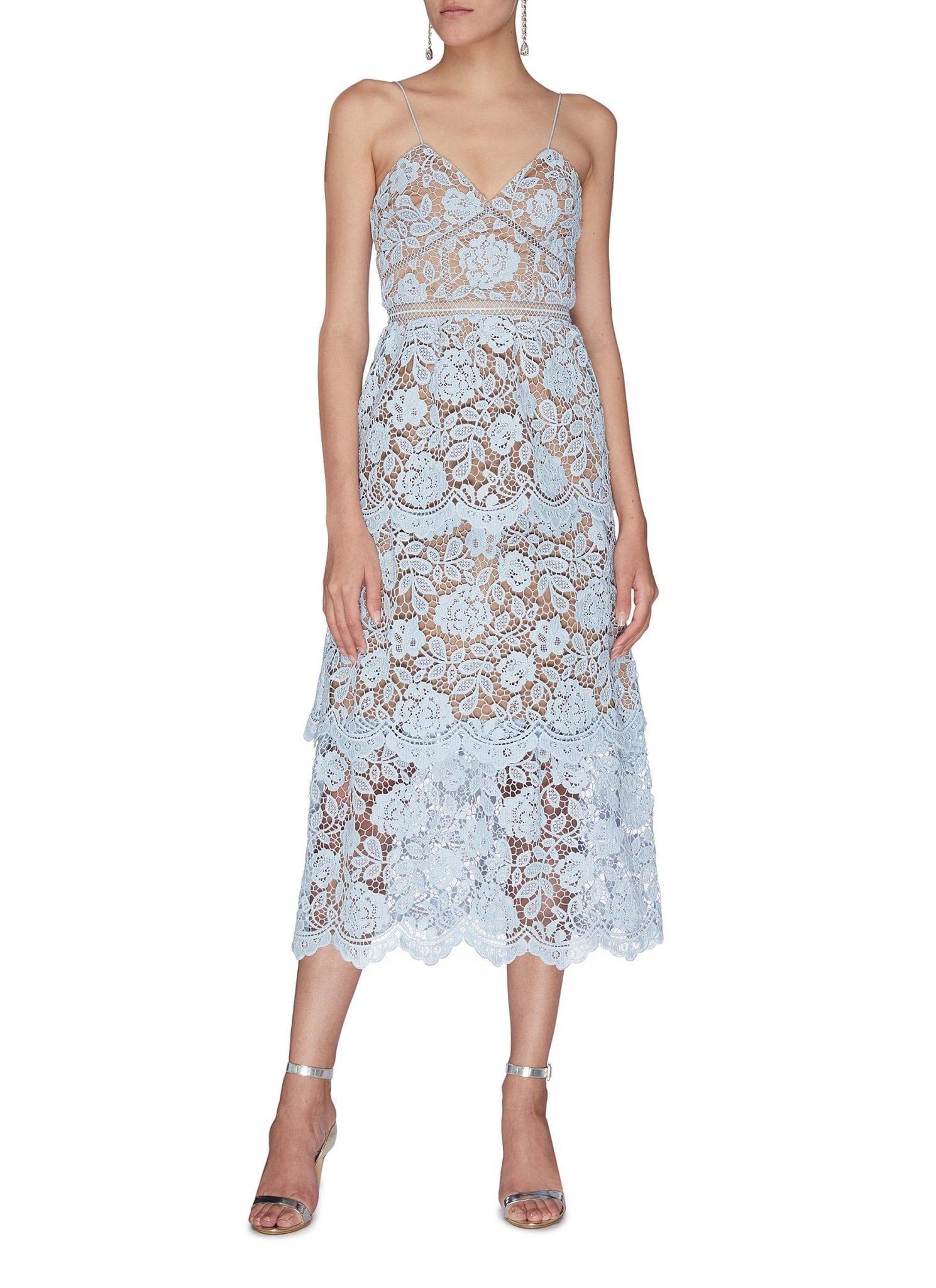 SELF-PORTRAIT Floral Embroidered Guipure Lace Midi Dress