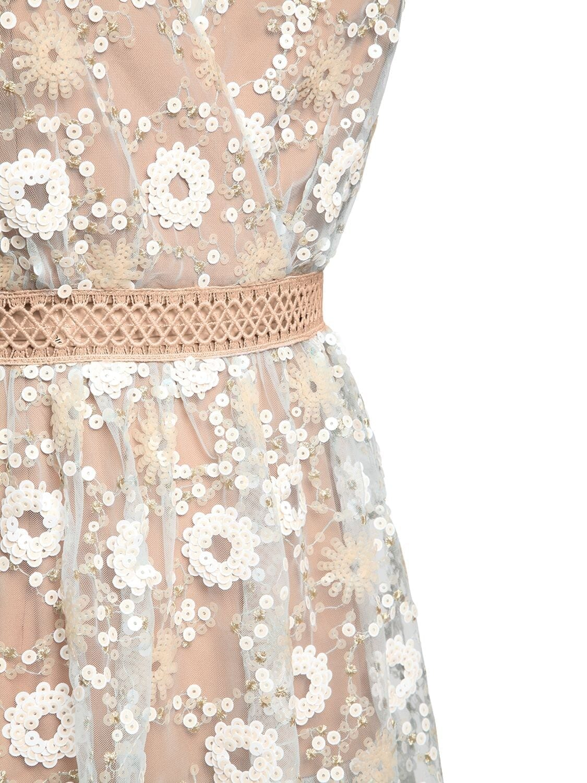 SELF-PORTRAIT Floral Sequin Lace Midi Dress