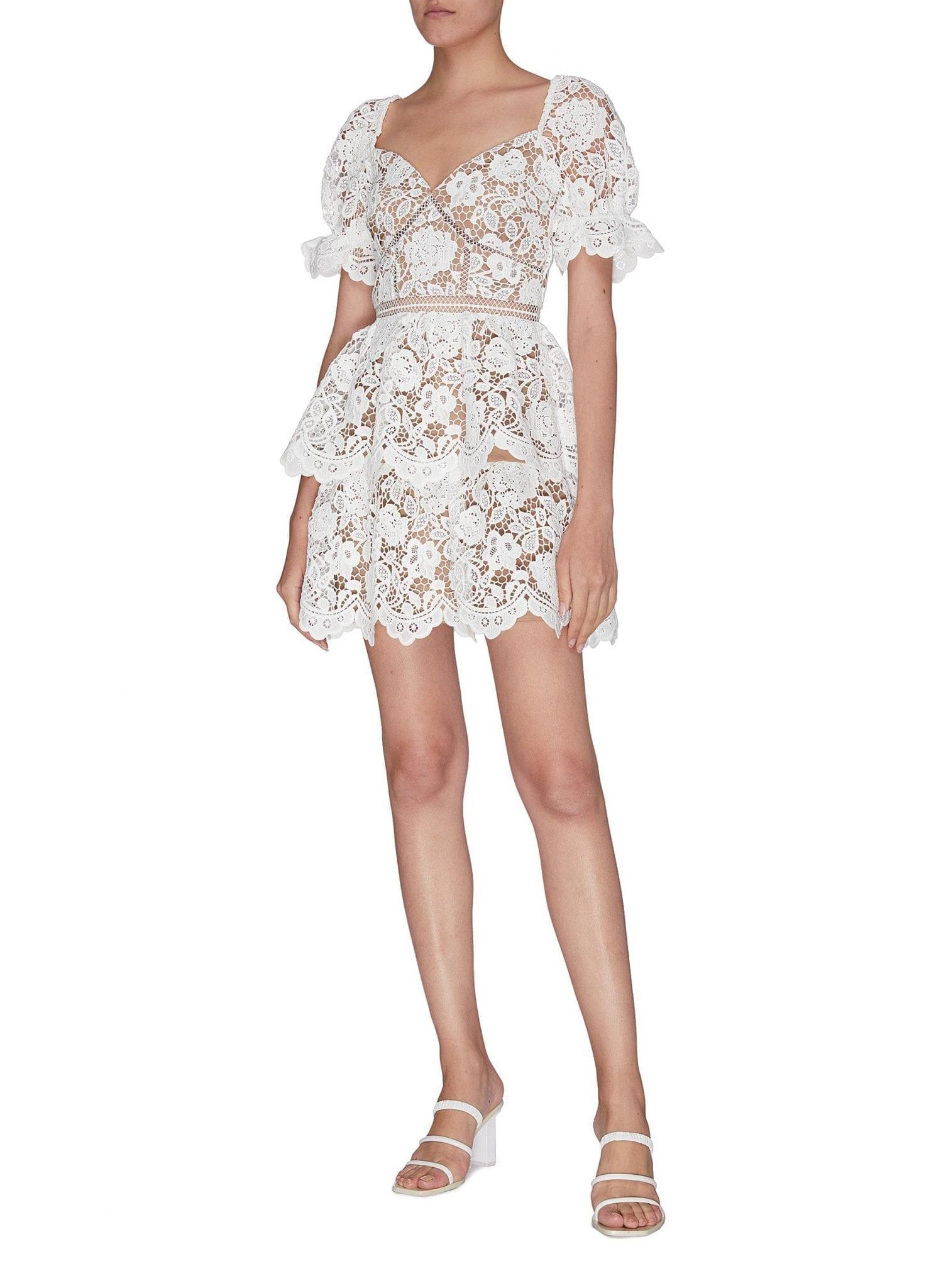 SELF-PORTRAIT Guipure Lace Ruffle Tiered Dress