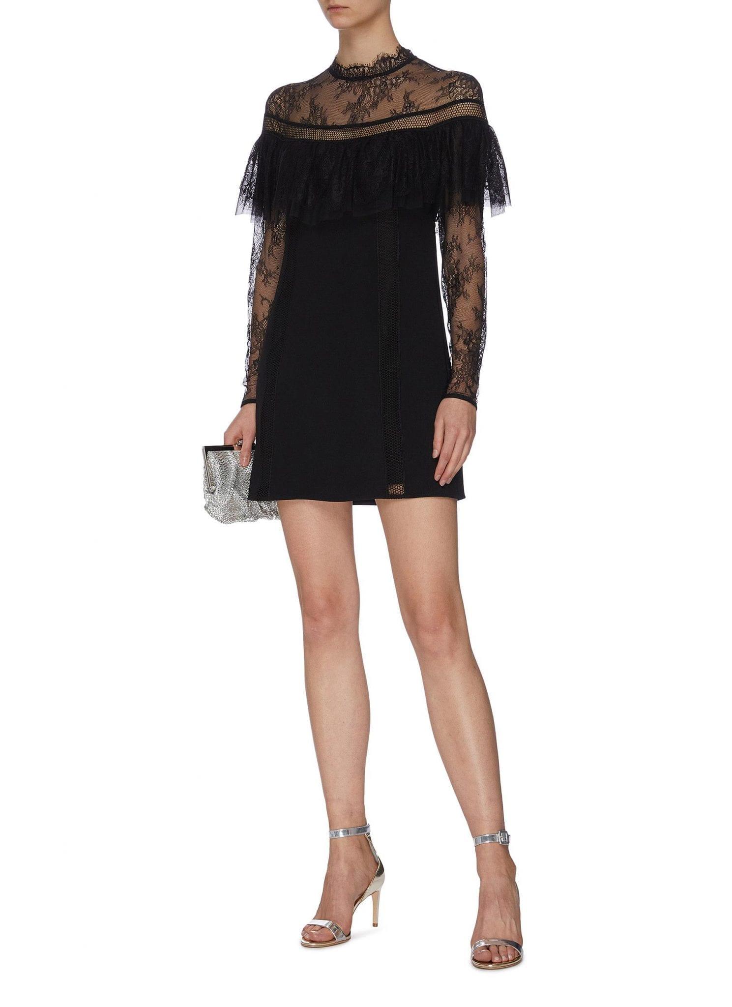 SELF-PORTRAIT Ruffle Panel Crepe And Lace Mini Dress