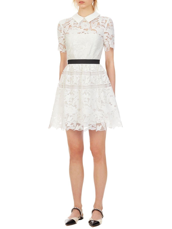 SELF-PORTRAIT Waist Band Lace Mini Dress