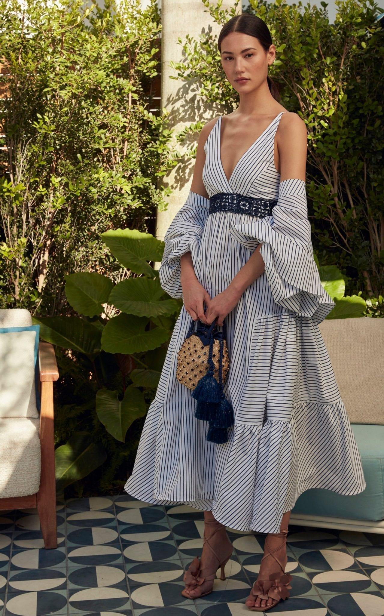 SILVIA TCHERASSI Canazei Striped Cotton Poplin Midi Dress