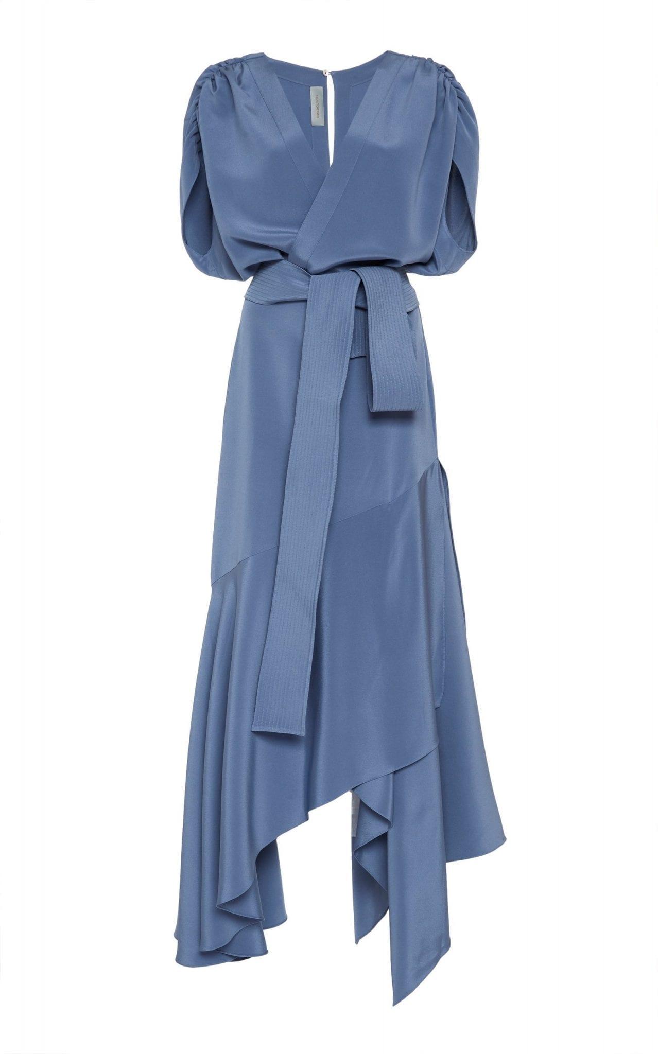 SILVIA TCHERASSI Protea Draped Stretch Silk Maxi Dress