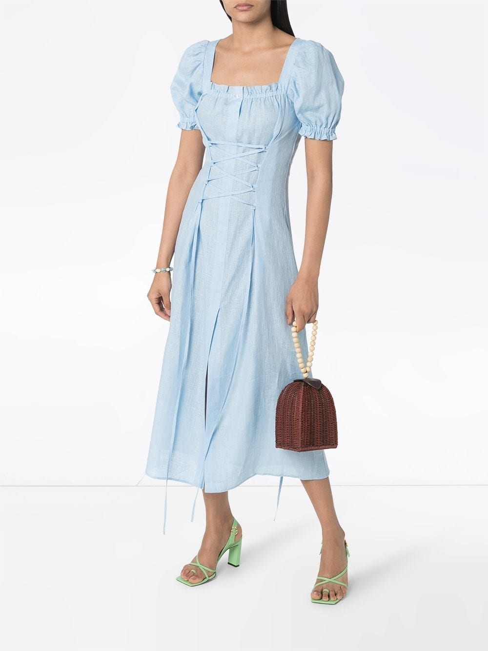 SLEEPER Corset-detail Midi Dress