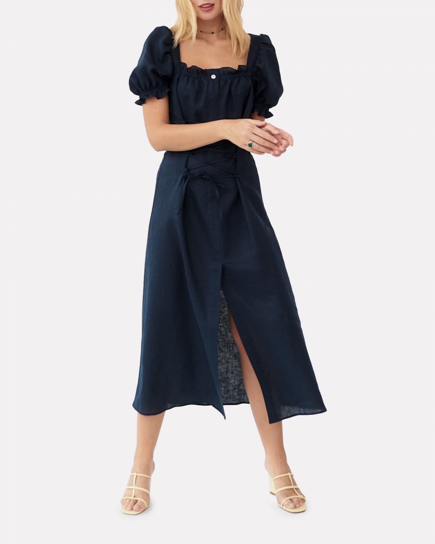 SLEEPER Marquise Lace-Up Linen Dress
