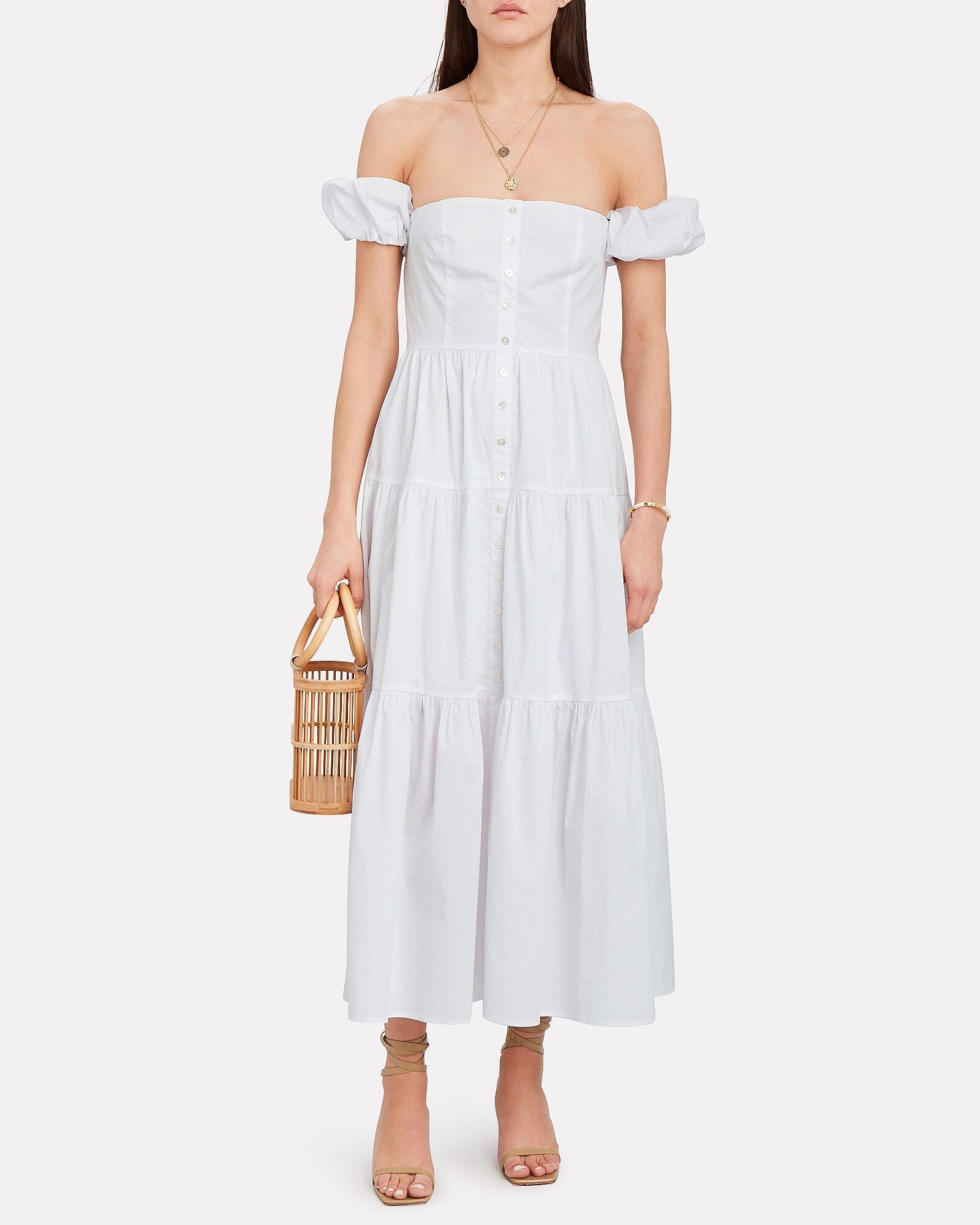STAUD Elio Off-The-Shoulder Cotton Dress