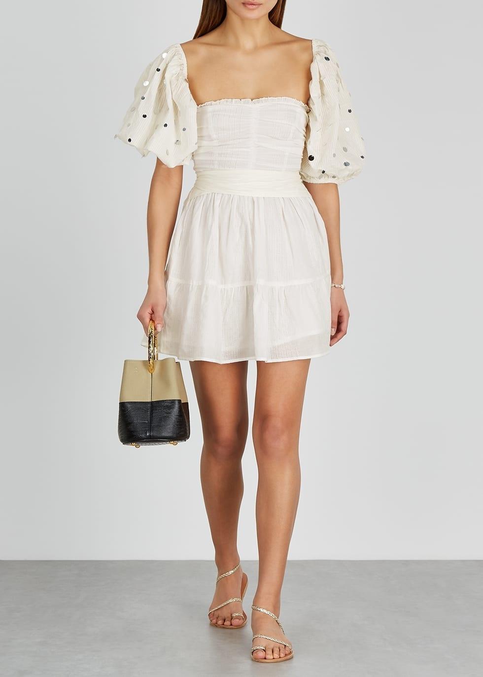 SUNDRESS Alana White Puff-sleeve Cotton Mini Dress