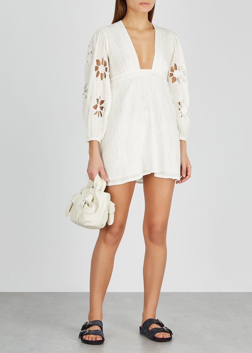 SUNDRESS Lucie White Lamé-weave Mini Dress