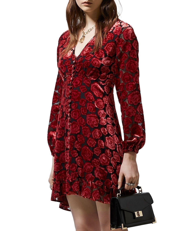 THE KOOPLES Faded Roses Burnout Mini Dress