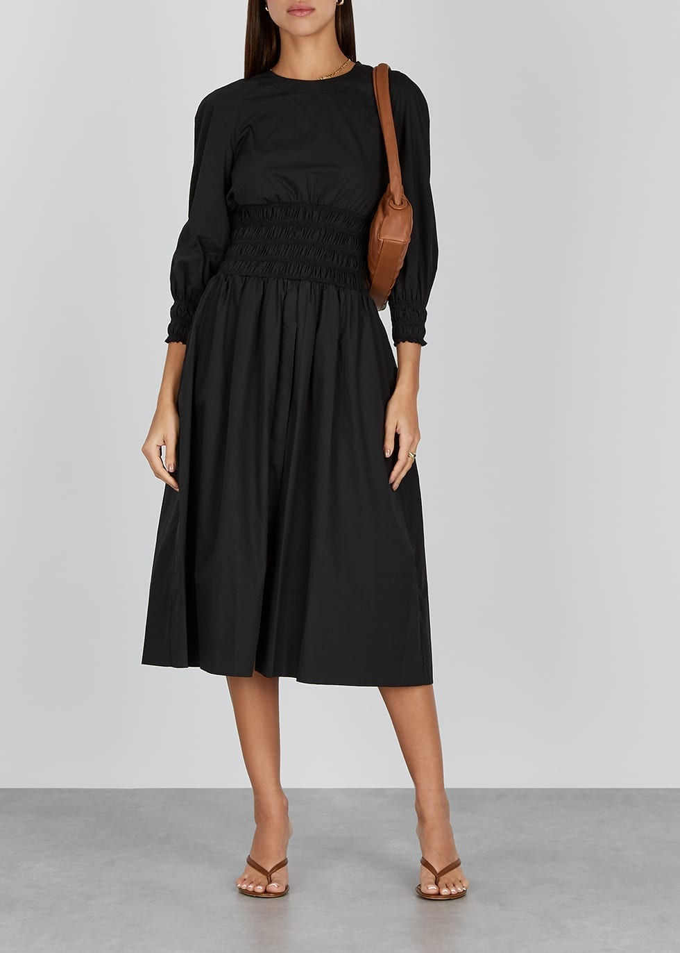 THREE GRACES Arianna Black Cotton Midi Dress