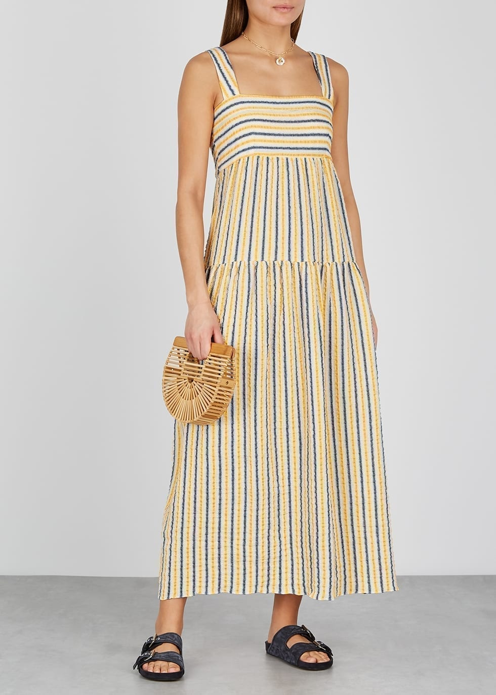 THREE GRACES Cosette Striped Seersucker Maxi Dress