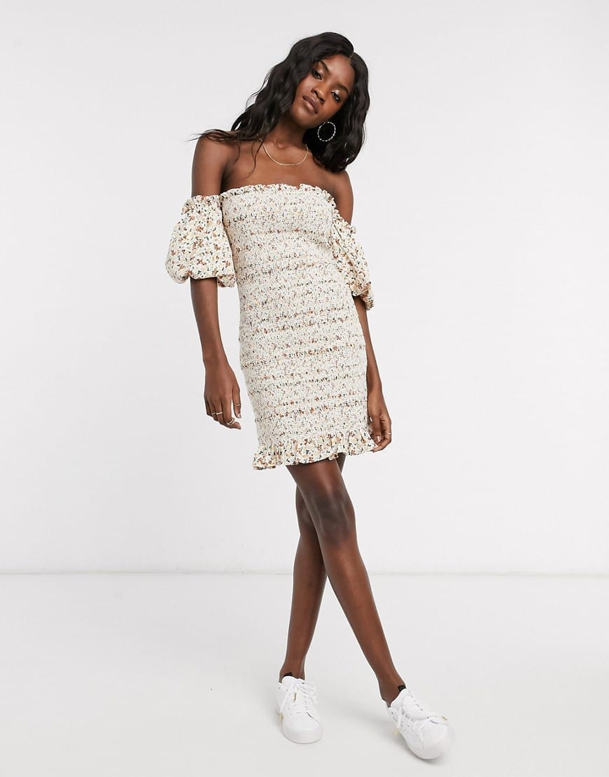 TOPSHOP Shirred Bardot Mini Dress