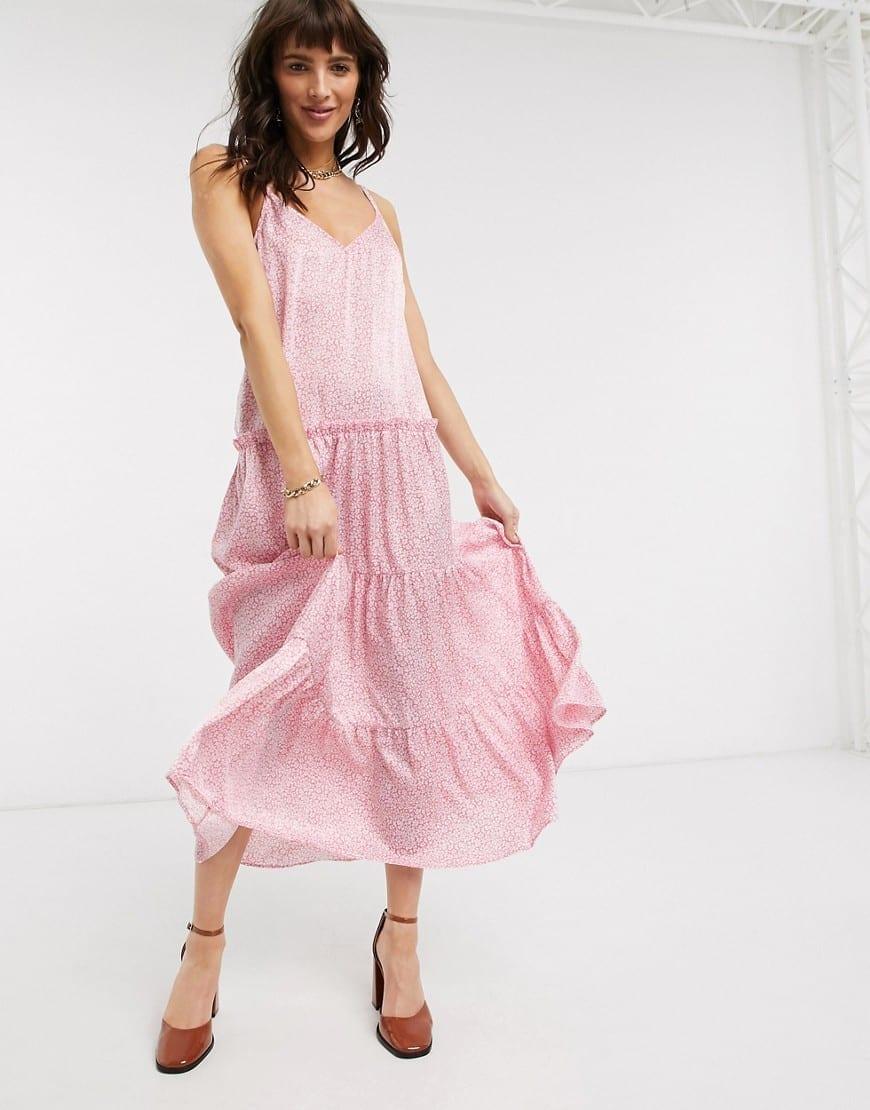 TOPSHOP Tiered Cami Midi Dress