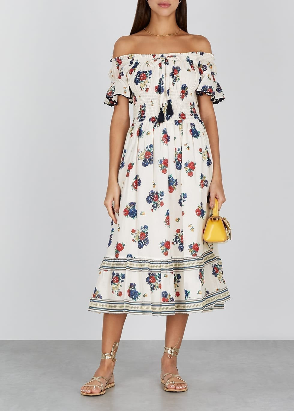TORY BURCH Floral-print Smocked Cotton Midi Dress