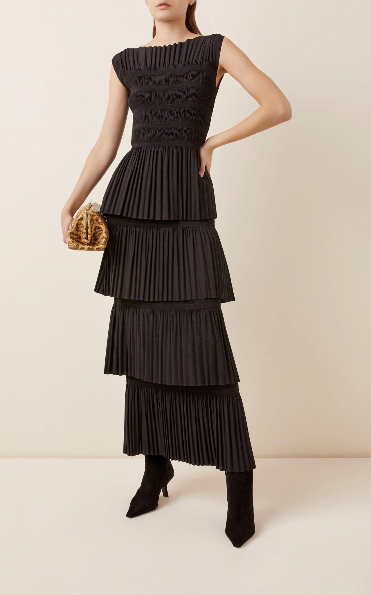 TOTEME Aramon Tiered Pleated Crepe Maxi Dress