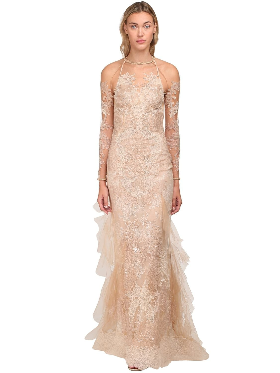 YOLANCRIS Sequined Sheer Organza & Lace Long Dress
