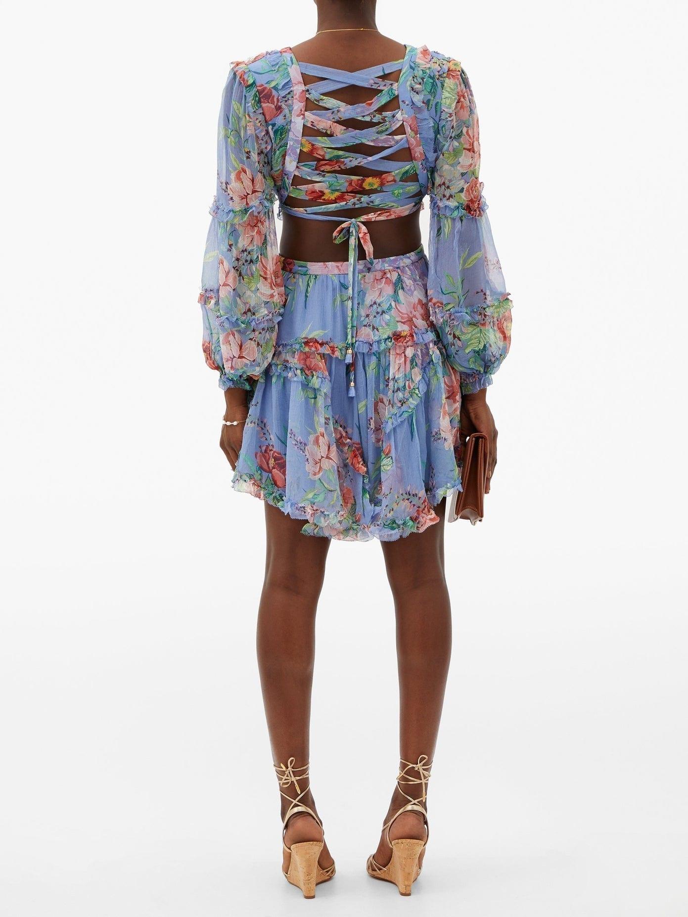 ZIMMERMANN Bellitude Laced Floral-print Silk Mini Dress