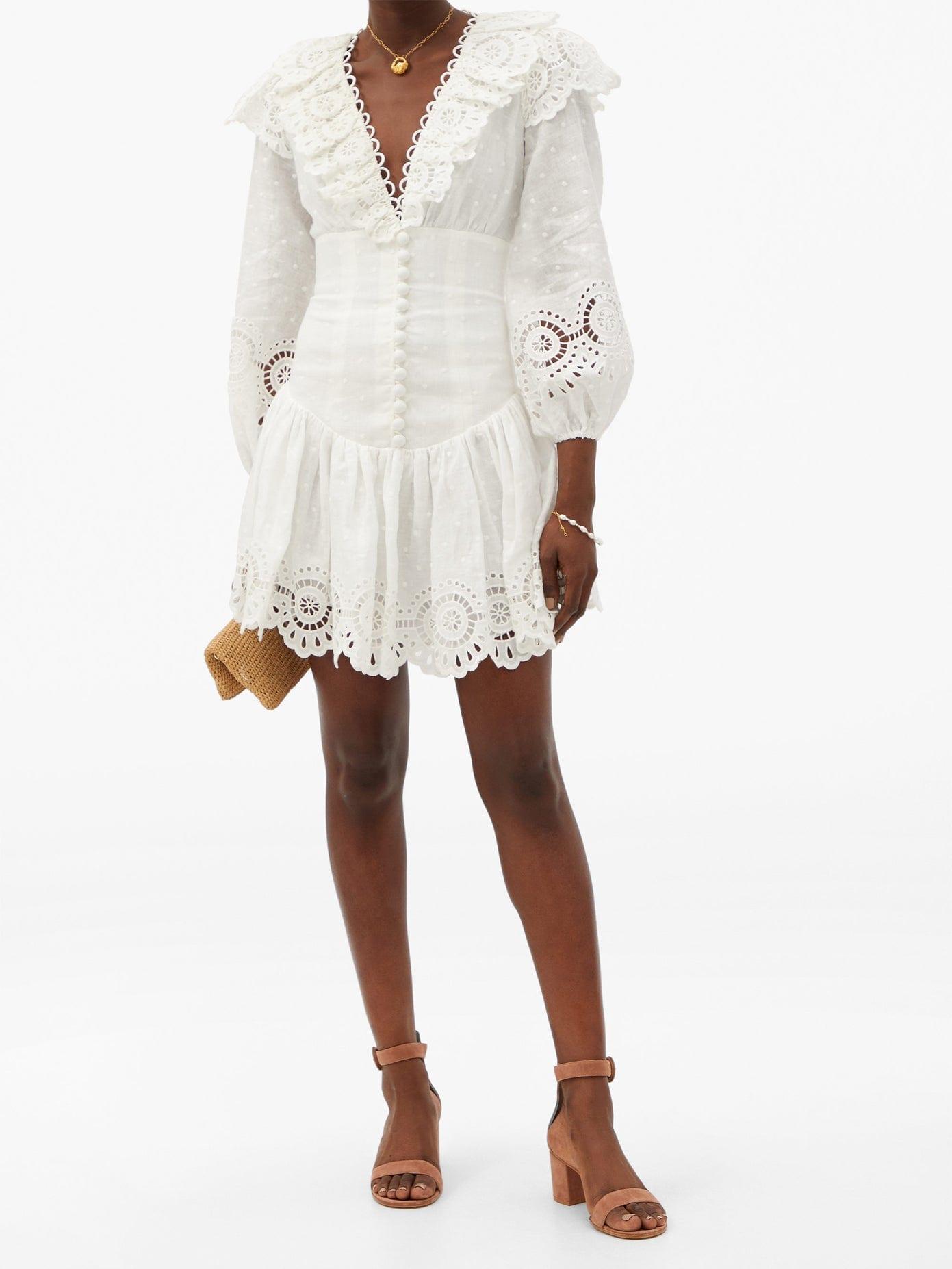 ZIMMERMANN Bellitude Ruffle-neck Linen Mini Dress