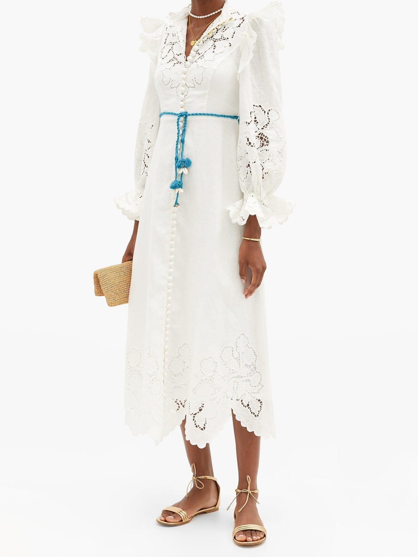 ZIMMERMANN Carnaby Broderie-anglaise Linen Midi Dress