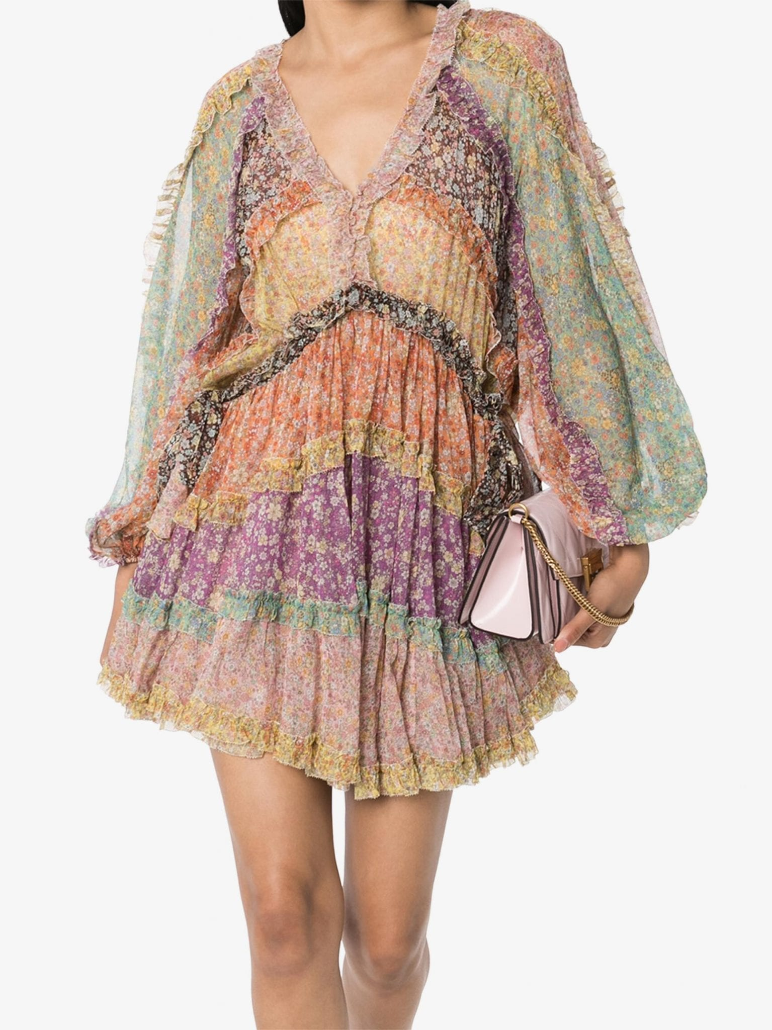 ZIMMERMANN Carnaby Pleated Floral-Print Mini Dress