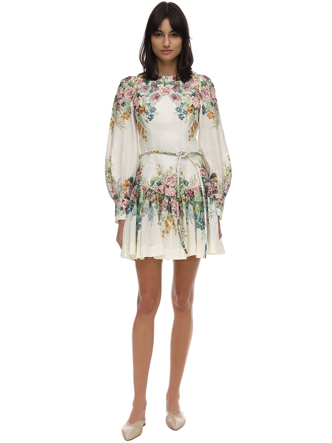 ZIMMERMANN Floral Print Ramie Mini Dress