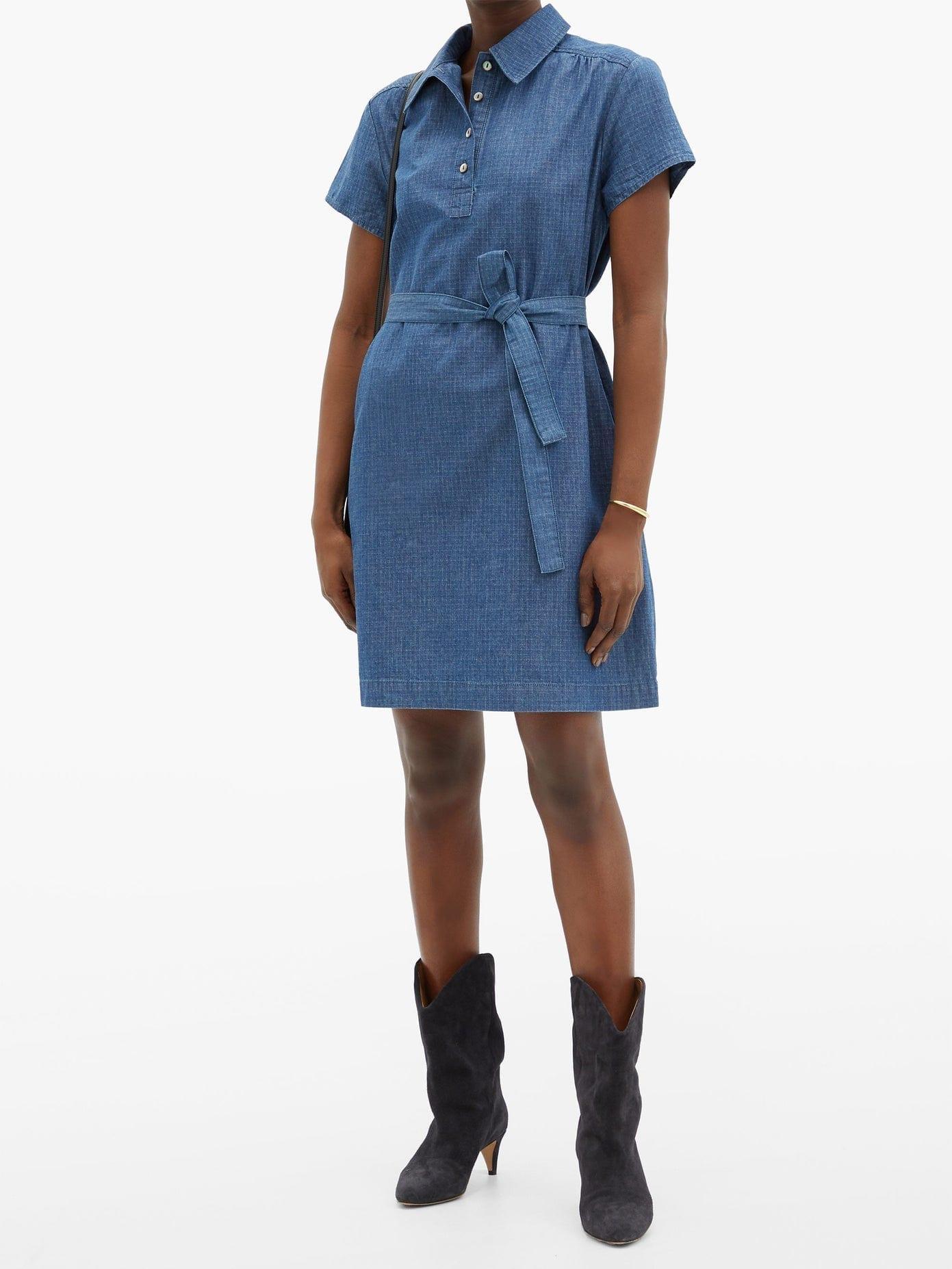 A.P.C. Prudence Belted Denim Mini Dress