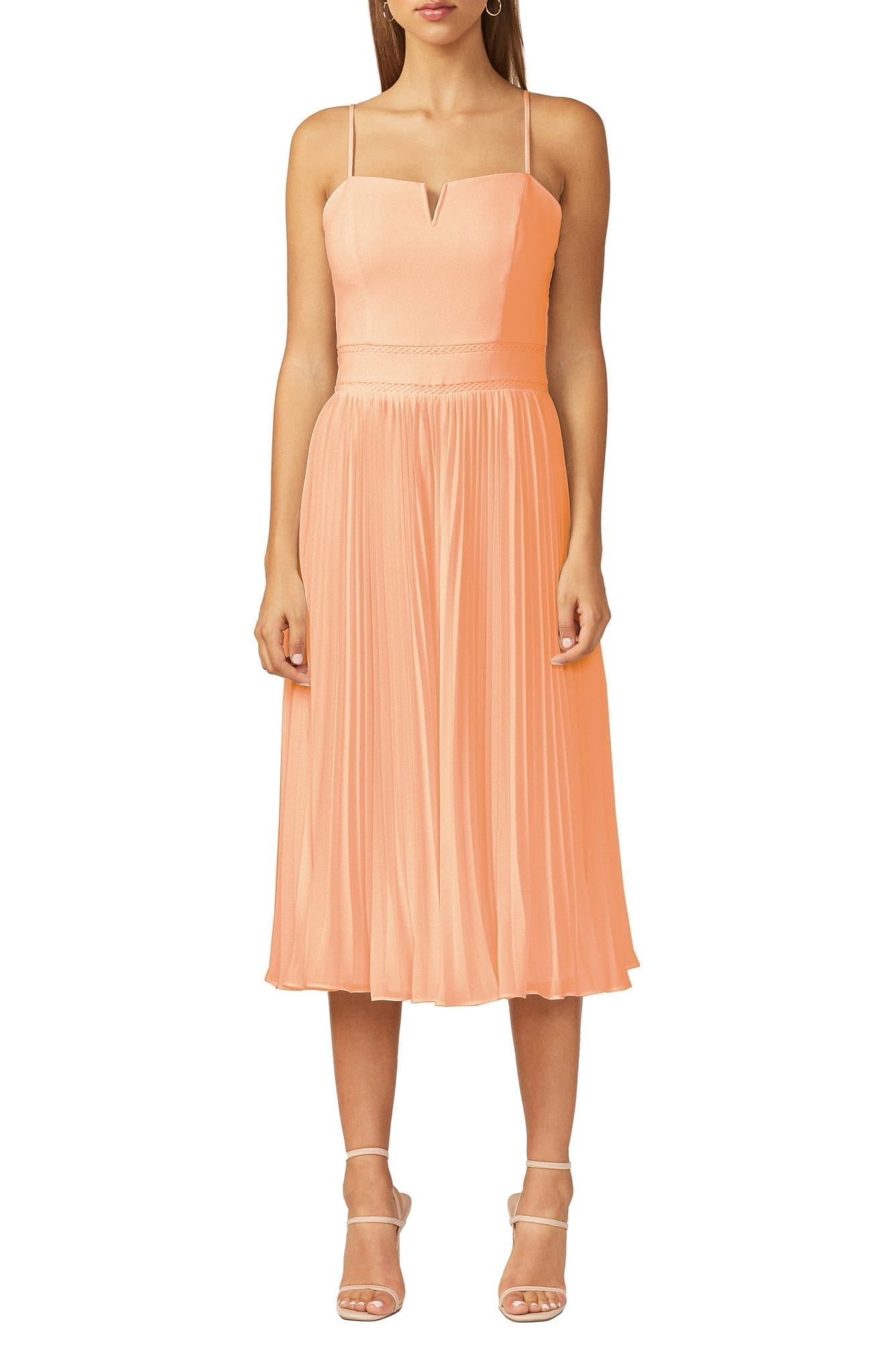 ADELYN RAE Charli Pleated Midi Dress