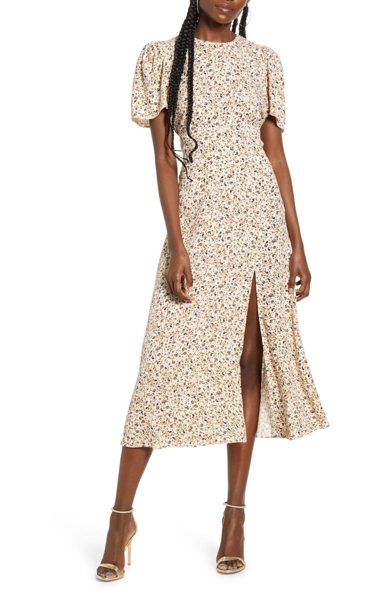 AFRM Jamie Print Open Back Short Sleeve Dress