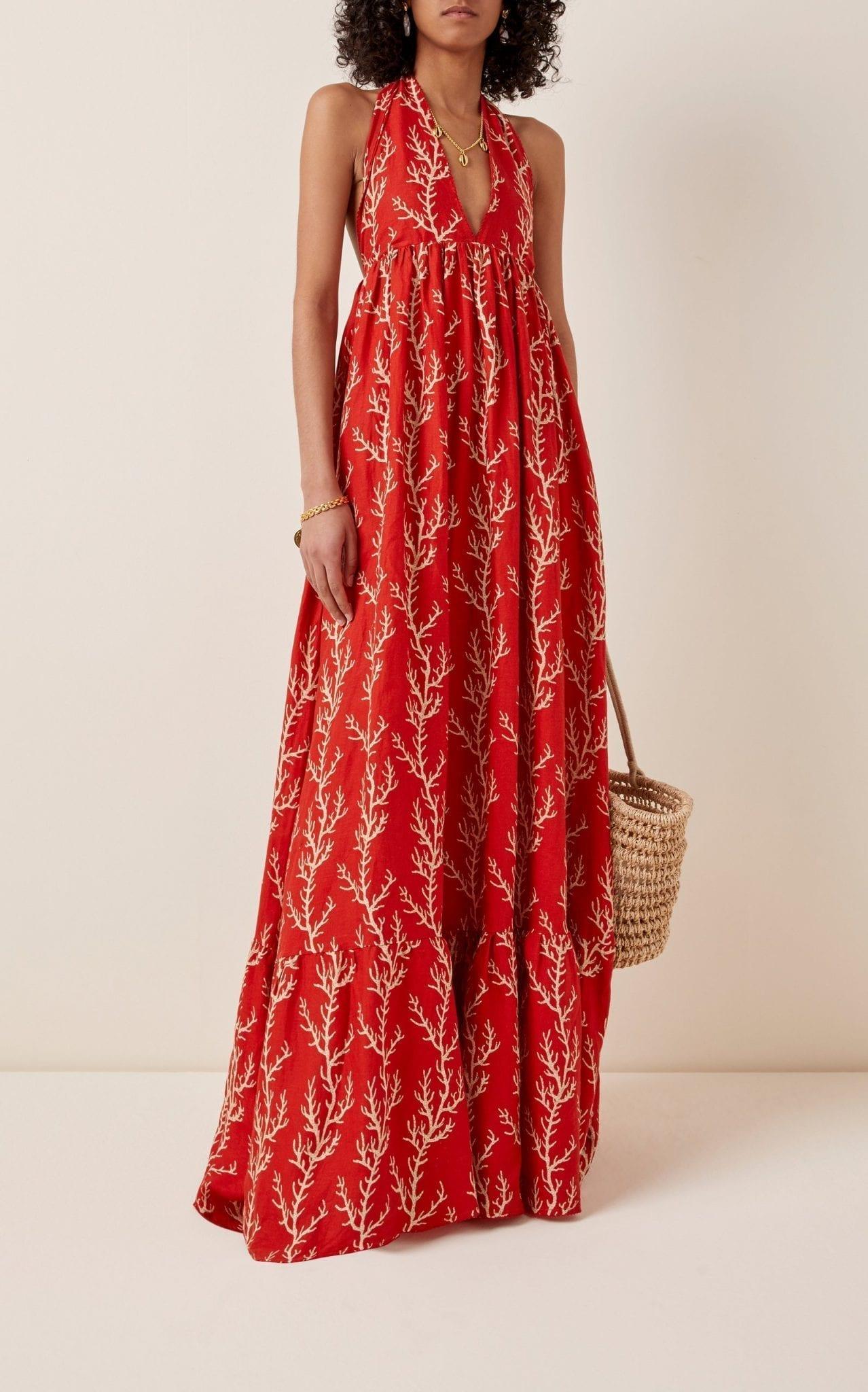 AGUA BY AGUA BENDITA Oliva Arrecife Printed Linen Halterneck Maxi Dress