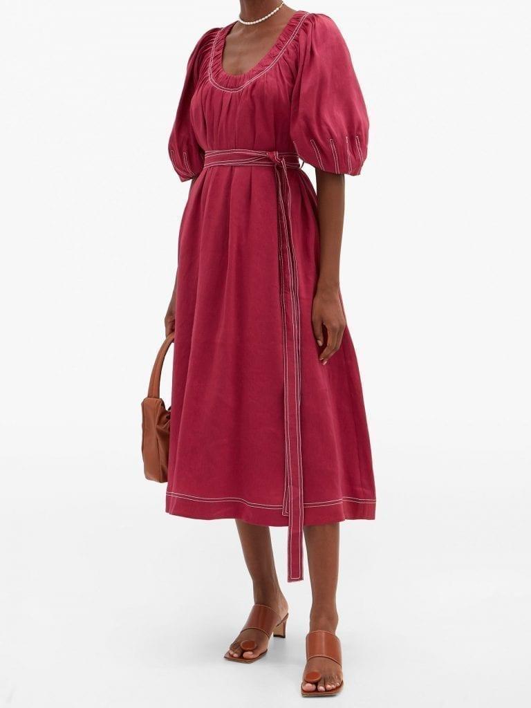 AJE Rebellion Gathered Linen-blend Midi Dress